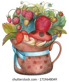 """Strawberry bush with berries and flowers, strawberry fairy. Watercolor summer children's fairy-tale illustration """"Sleeping child, ladybug, strawberry in a jug  with a blue bow."""" Cute bright elements"""