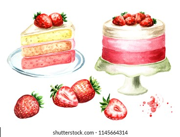 Strawberry cake set. Watercolor hand drawn illustration, isolated on white background