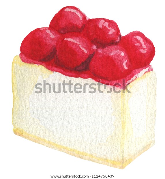 Strawberry cheesecake watercolor illustration isolated on white background