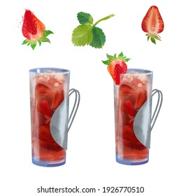 strawberry frose watercolor cocktail illustration