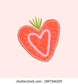 Strawberry heart pink color illustration