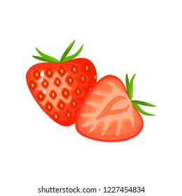 Strawberry isolated on white background. Bright  illustration of colorful half and whole of juicy Strawberry. Fresh cartoon