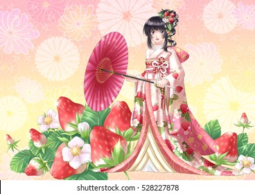 strawberry kimono girl japanese anime manga style illustration