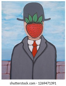 Strawberry magritte portrait illustration acrylic color painting on canvas