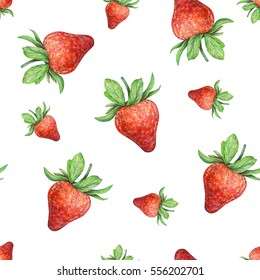 Strawberry on white background. Watercolor drawing of strawberry berries. Handwork drawn. Watercolor seamless strawberry pattern for fabric design