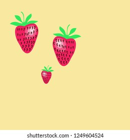 Strawberry pattern,leaves, grains . Hand drawn.