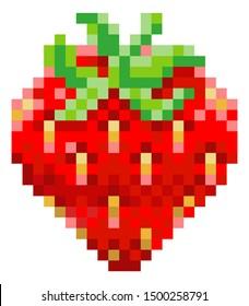 A strawberry pixel art 8 bit video game style fruit icon