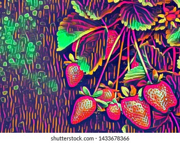 Strawberry plant growing with colorful mola effect added