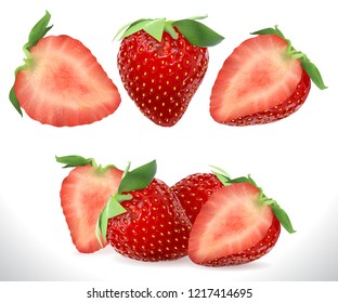 Strawberry Realistic Sweet Berry fruit icons set. Stock 3D illustration