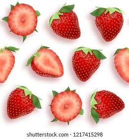 Strawberry seamless pattern, slices and whole berries, top view on white background. Stock 3D illustration