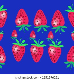 Strawberry seamless  pattern,leaves, grains . Hand drawn.