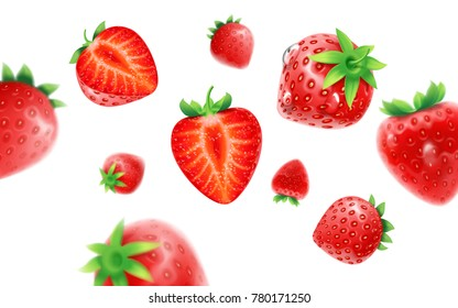 Strawberry set, detailed realistic ripe fresh strawberries with half and green leaves with water droplets isolated on a blue background. 3d illustration
