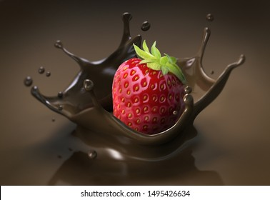 Strawberry with splashing chocolat - 3D illustration