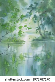 A stream in the forest in spring watercolor background. Green landscape