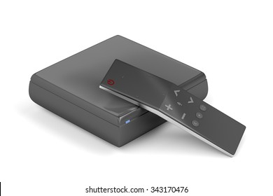 Streaming media player with remote control on white background