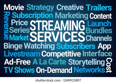 Streaming Services Word Cloud on Blue Background