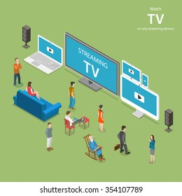 Streaming TV isometric flat illustration. People watch online TV on different internet-enabled devices like PC, laptop, TV set tablet, smartphone.