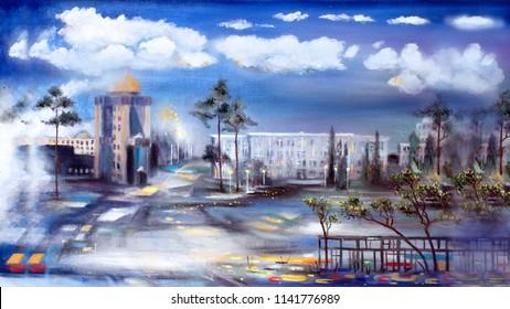 Street in academgorodok, oil painting artwork
