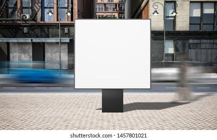 street advertising square billboard mockup at city 3d rendering