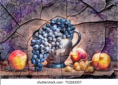 Street art- ancient background. Fresco- abstractness painting on the grunge wall. Still life vintage- mural on the damaged surface