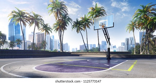 Street basketball court 3D illustration