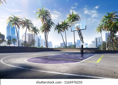 Street basketball court made with photo and 3D illustration