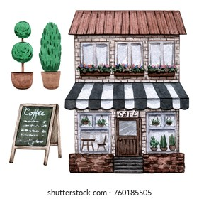 Street cafe set. Watercolor hand painted illustration