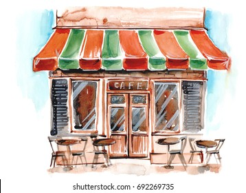 Street caffe. Watercolor illustration.
