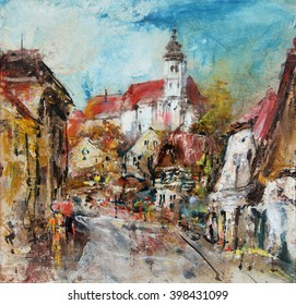 Street with church tower on the hill, oil painting art