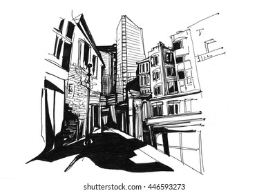 Street city scape sketch