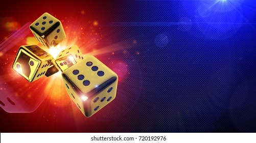 Street Craps Hot 3D Concept. Golden Dices Action Concept 3D Rendered Illustration. Banner with Copy Space.