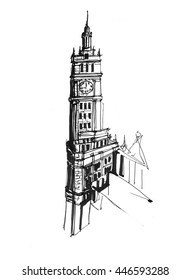 Street detail building sketch