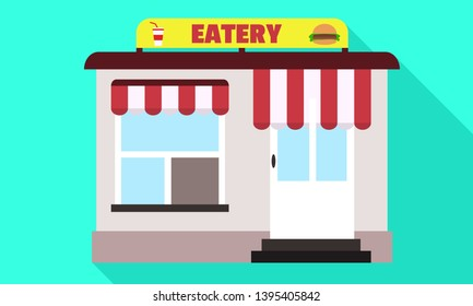 Street eatery icon. Flat illustration of street eatery icon for web design