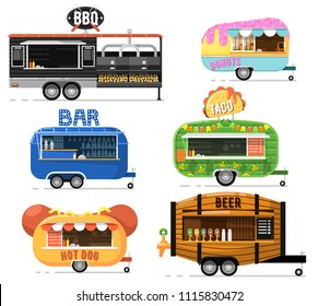 Street fast food truck set. Taco, hot dog, donuts, beer, bbq and bar outdoor cafe service. Culinary city shop, takeaway restaurant, urban catering, market in street illustration in flat style.
