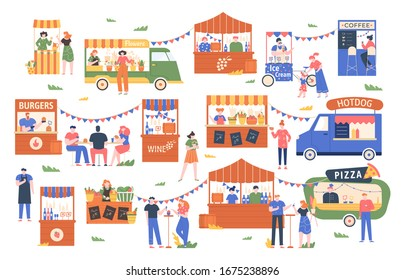 Street food marketplace. Outdoor farmers market, characters buy and sell vegetables, bread, flowers and other products, street shopping trade  illustration. Local kiosks, food trucks and booths