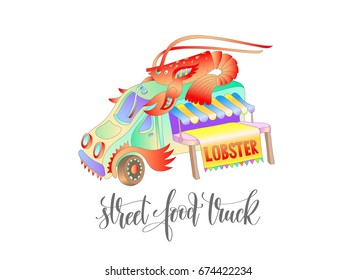 street food truck with lobster, van delivery isolated isolated on white, raster version illustration