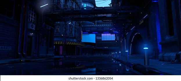 Street of a futuristic city. Photorealistic 3D illustration. Night scene with neon lighting. Dark urban landscape. Cityscape in the style of cyberpunk.