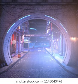 Street of a futuristic city, starting with an arch in a brick wall. Photorealistic 3D illustration. Night scene with neon lighting. City landscape in the style of cyberpunk.