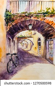 Street of Garda. historic architecture view, Garda lake, Lombardy region of Italy.Picture created with watercolors.