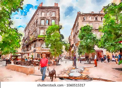 street life in Bordeaux,  watercolor style
