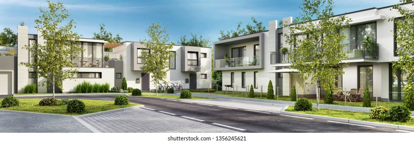 Street with modern and beautiful houses. 3D rendering