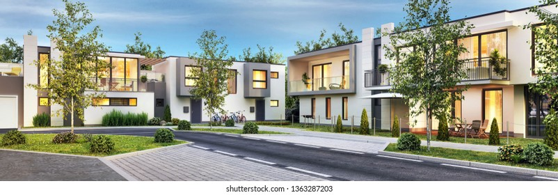 Street with modern and beautiful houses. Evening view. 3D rendering