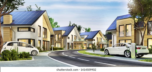 Street with modern houses. Modern homes with solar panels on the roof and electric vehicles. 3d rendering