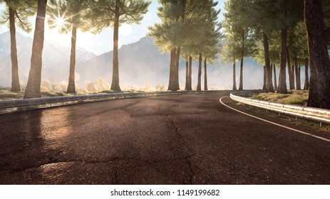 Street in the mountains (3D Rendering)