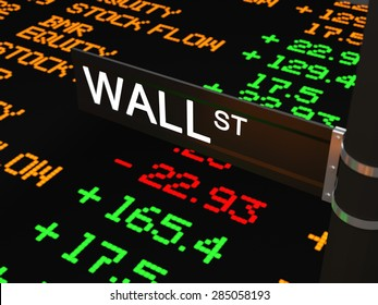 The street name wall street with on the background the LED ticker tape with stock rates and other numbers.3D Illustration
