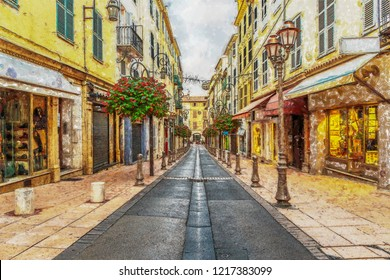 Street in the old town Antibes in France. Digital illustration in painting style