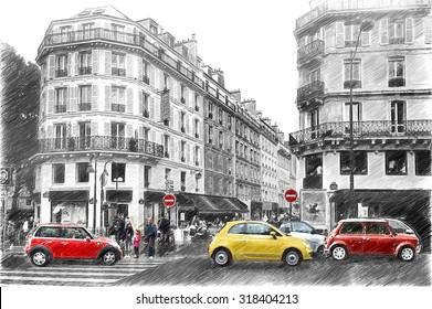 Street in Paris. Digital illustration in draw, sketch style
