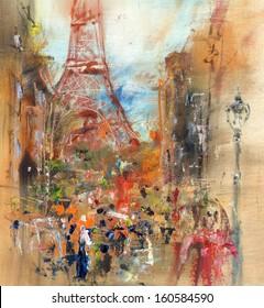 Street in Paris - illustration, oil painting
