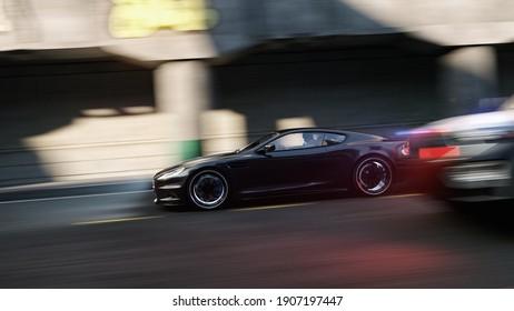 street police fast car chase visualisation background, 3D Illustration