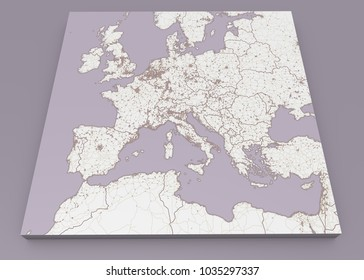 Street and political map of Europe and North Africa. European cities. Political map with the border of the states. Urban areas. Street directory, atlas. 3d rendering